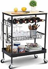kingrack Kitchen Island Storage Trolley with Wine