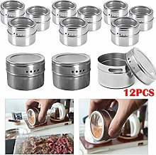 KingSaid 12pcs Magnetic Stainless Steel Cook Spice