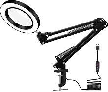 Kingso - LED lamp USB magnifier 360 ¡ã reading