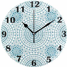 Kinhevao Boho Chic Wall Clock Silent Non Ticking