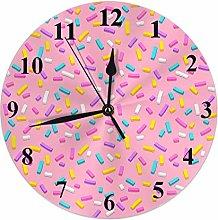 Kinhevao Donut Round Wall Clock,Pink Donut Glaze