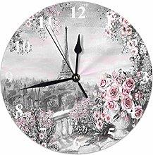 Kinhevao Eiffel Tower Round Wall Clock,Gray Pink