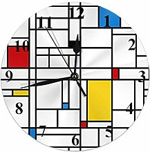 Kinhevao Geometric Round Wall Clock,Mondrian Style