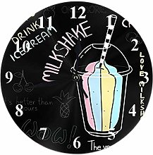 Kinhevao Milkshake Round Wall Clock,Funny