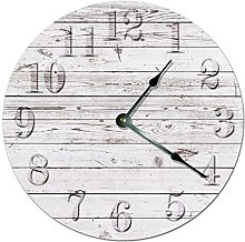 Kinhevao Rustic Beach Board Clock Decorative Round