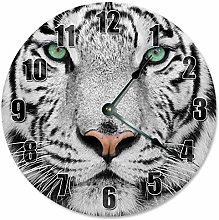 Kinhevao WHITE TIGER Clock - Large 10 inch Wall