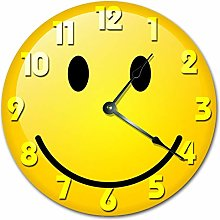 Kinhevao YELLOW SMILEY FACE CLOCK Large 10 inch