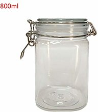 KINTRADE 800ML Plastic Square Clip Top Storage Jar