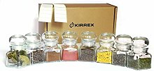 Kirrex Glass Spice Jars with Glass Airtight Lid,