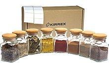 Kirrex Glass Spice Jars with Wooden Lid, 150 ml (8