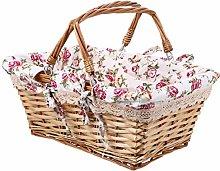 Kisangel Wicker Picnic Basket with Double Folding