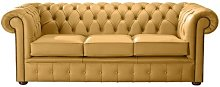 Kissonerga Genuine Leather 3 Seater Chesterfield