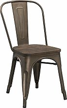Kit Closet Metal Chair with Wood Base, 86 Height