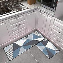 Kitchen Area Rug Non-Slip Set, Blue, Gray And