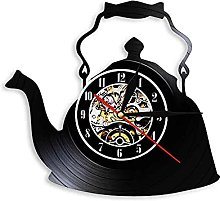 Kitchen Art Teapot Wall Clock-Vintage Vinyl Record