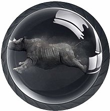 Kitchen Cabinet Knobs - Animal Gray Rhinoceros -