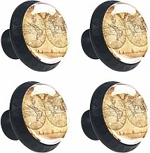 Kitchen Cabinet Knobs - Antique Map of The World