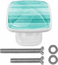 Kitchen Cabinet Knobs - Artistic Turquoise Wood -
