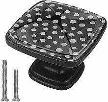 Kitchen Cabinet Knobs - Black Gray Dots - Knobs