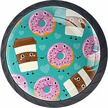 Kitchen Cabinet Knobs - Cartoon Donut Drinks