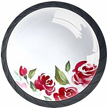 Kitchen Cabinet Knobs - Chinese Painting Roses -
