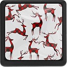 Kitchen Cabinet Knobs - Christmas with Deer Tartan