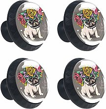 Kitchen Cabinet Knobs - Dog with Flowers - Knobs
