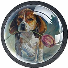 Kitchen Cabinet Knobs - Dog with Tulip - Knobs for