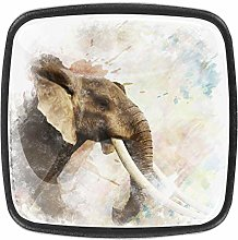 Kitchen Cabinet Knobs Elephant Painting Square