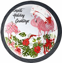 Kitchen Cabinet Knobs - Flamingo with Christmas
