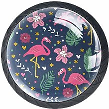 Kitchen Cabinet Knobs - Flamingo with Leaves -