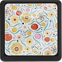 Kitchen Cabinet Knobs - Floral Vintage Orange -