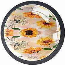 Kitchen Cabinet Knobs - flowerVintage Yellow -