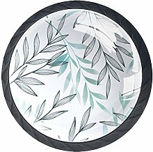 Kitchen Cabinet Knobs - Gray Blue Leaves - Knobs