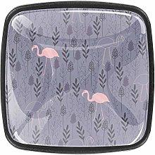 Kitchen Cabinet Knobs - Gray Flower Flamingo -