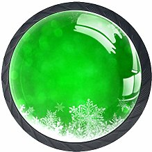 Kitchen Cabinet Knobs - Green Christmas Background