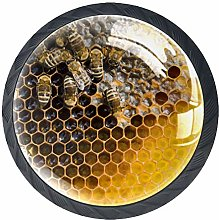 Kitchen Cabinet Knobs - Honeycomb with Bees Yellow