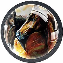 Kitchen Cabinet Knobs - Horse Oil Painting - Knobs