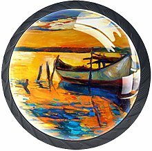 Kitchen Cabinet Knobs - Oil Painting Boat - Knobs