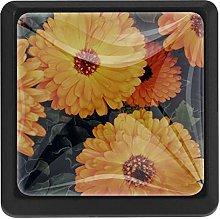 Kitchen Cabinet Knobs - Orange Chrysanthemum