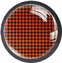 Kitchen Cabinet Knobs - Orange Houndstooth - Knobs