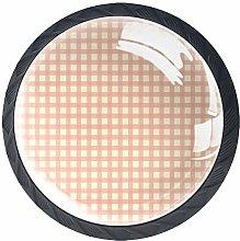 Kitchen Cabinet Knobs - Orange Plaid Pattern -