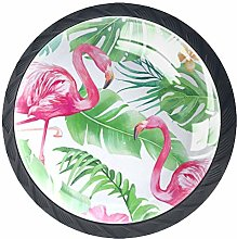 Kitchen Cabinet Knobs - Pink Flamingo with Green