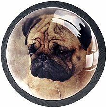Kitchen Cabinet Knobs - Pug Puppy face Gray -