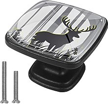 Kitchen Cabinet Knobs Round,Deer Shadow,Drawer