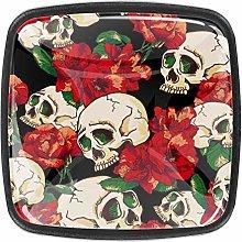 Kitchen Cabinet Knobs - Skull with Flower Pattern