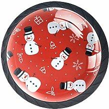 Kitchen Cabinet Knobs - Snowman with Black Hat -
