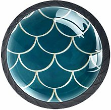 Kitchen Cabinet Knobs - Turquoise Green Fish Scale