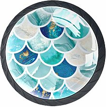 Kitchen Cabinet Knobs - Turquoise Green Fish