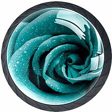 Kitchen Cabinet Knobs - Turquoise Green Rose Art -